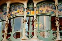 Casa Batlló (Batlló House, Gaudí, 1904-1906) at the Passeig de Gràcia. Barcelona. Spain