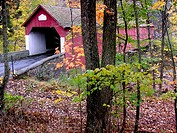 Tucked away in the Pennyslvania countryside, a covered bridge is surrounded by autumn foliage. Tinicum Township, Upper Bucks County