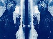Double-exposed cyanotype