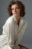 Young Woman Wearing Man´s White Dress Shirt