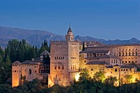 Evening view of the Alhambra from the Mirador de San Nicolas. Granada. Andalucia. Spain.