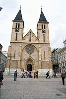 Facade of the Sarajevos cathedral (Capital de Bosnia Herzegovina), Fachada de la catedral de Sarajevo (Capital from Bosnia Herzegovina)