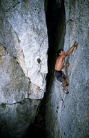 Rock climbing in Mont-Ral. Sierra de Prades. Tarragona. Cataluña. Spain.