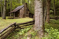 James Arch Stewart cabin built in the Appalachian Mountains of the state of North Carolina United States of America 1879 now located in the Nantahala ...