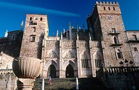 Royal Monastery (14th century) now Parador Nacional (state-run hotel), Guadalupe. Cáceres province, Extremadura, Spain