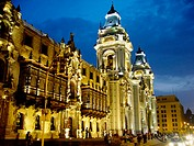 Cathedral and archbishop palace. Historic centre. Lima. Peru