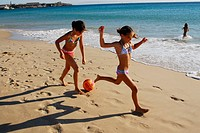 9 year old Spanish girls in Tarifa. Cádiz. Andalucia. Spain.