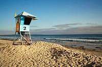 USA, California, San Diego, Lifeguard station at Coronado Beach.
