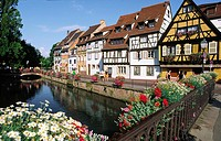 Half-timbered traditional house, ´The Little Venice area´ , Colmar, Haut-Rhin, Alsace. France.