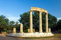 The remains of the Philippeion columns at ancient Olympia, Greece.