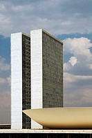 National Congress towers by Oscar Niemeyer. Brasilia. Brazil