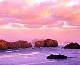 Offshore Islands National Wildlife Refuge at sunrise, Bandon, Southern Oregon coast, USA