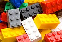 Bright coloured Lego toy building bricks