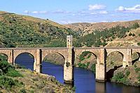 Alcántara bridge. Roman architecture (2nd century). Alcántara. Cáceres province. Extremadura. Spain.