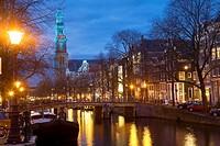 Prinsengracht & Westerkerk, Amsterdam, The Netherlands. Westerkerk Church & Prinsengracht