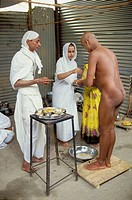 VERY ORTHODOX, THE DIGAMBARA OR SKY CLAD MONKS RENOUNCE ALL KINDS OF POSSESSIONS INCLUDING CLOTHES AND LIVE NAKED