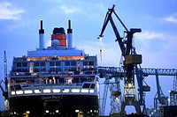 Queen Mary II laying in the dry dock of a Blohm & Voss shipyard in Hamburg, Germany, Europe