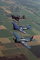 World War II US fighters: F4F Wildcat (in foreground), F6F-5 Hellcat (centre), F4U Corsair (in background)