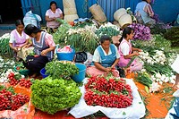 Sunday market in Tlacolula town.Vegetable vendors  . Oaxaca,Mexico.
