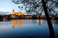 Tormes river and cathedral, Salamanca. Castilla-Leon, Spain