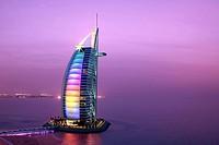 Burj Al Arab Hotel at dusk, Dubai, United Arabian Emirates