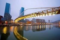Zubizuri bridge by Santiago Calatrava, Bilbao. Biscay, Euskadi, Spain