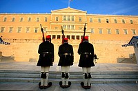 Guards at the Monument to the Unknown Soldier and Parliament, Syntagma Square, Athens. Greece