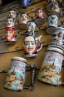 Mugs decorated with Vlad Tepes also known as Dracula on sale in the old town of Sighisoara, Transylvania. Romania.