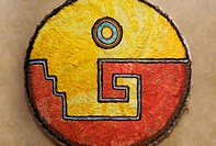 Red and yellow feather Aztec warrior shield at the National Museum of Anthropology in Mexico City
