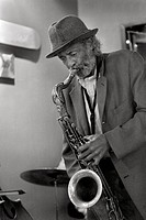 Cafe Balcony Jazz, Billy H Jazz saxophone, black and white MR