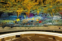 In the Human Rights and Alliance of Civilization Chamber, ceiling sculpture designed by Miquel Barceló, United Nations, Palais des Nations, Geneva, Sw...