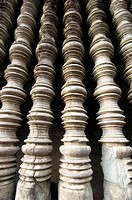 elaborately crafted design inside the ancient Khmer temples of Angkor Wat in Cambodia
