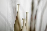 Three White Bottles Behind Veil