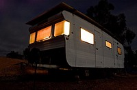 Old mobile home at night, Frankland, Western Australia, Australia