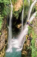 Canyoning in Añisclo gorge, National Park of Ordesa and Monte Perdido, Huesca, Spain / Descenso de barrancos, Cañon de Añisclo, Parque Nacional de Ord...