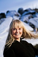 Young woman laughing. Wintertime, Iceland