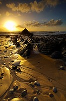 Sunset at Sandymouth in North Cornwall, England