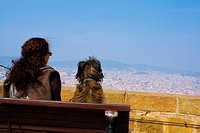 Contemplating Barcelona city from Montjuic castel.Europe, Spain, Catalonia.Marzo 2010.