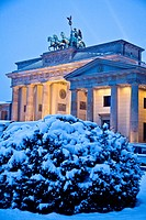 Brandenburg Gate Berlin Germany In Winter with Snow