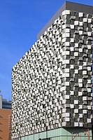 The ´Cheese Grater´ facade of a multistory car park, St Paul´s development, Sheffield, South Yorkshire, England, UK