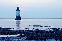 Lighthouse in the River Lune channel near Cockerham Sands Lancashire England