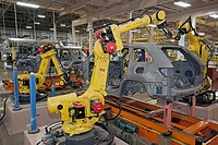 Detroit, Michigan - Robots assemble Chrysler´s new Jeep Grand Cherokee at the Jefferson North Assembly Plant