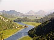 europe, montenegro, panorama with rijeka crnojevica