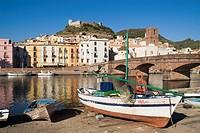 BOSA SARDINIA Fishing boat River Temo bridge Serravalle Castle