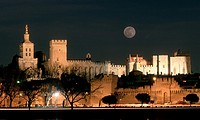 Popepalace in Avignon in a Fullmoon Night