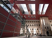 Part of the new futuristic, wing designed by architect Jean Nouvel at the Centro de Arte Reina Sofia in Madrid, Spain