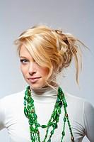 beautiful blond shot against white background