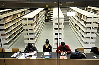Students in the library of the Barcelona University. Montalegre street. Ciutat vella district. Barcelona. Catalonia. Spain.