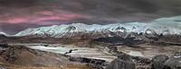 Craigieburn Range, Frosty dawn, Castle Hill farm and village, Castle Hill basin, Canterbury, New Zealand.