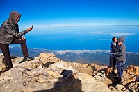 Climbing to the top of Teide. Teide National Park. Tenerife. Canary Islands. Spain.
